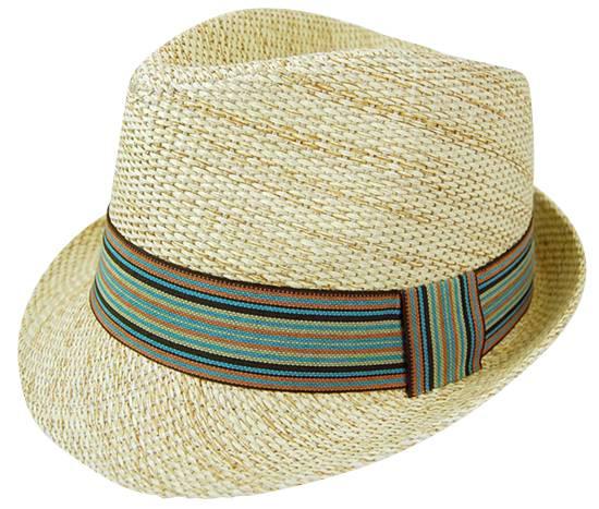Boardwalk Style Earth Tone Straw Fedora w: Turquoise Band
