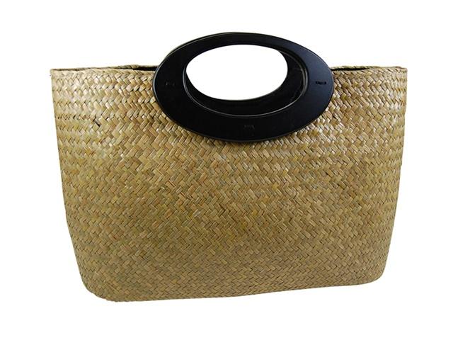 Boardwalk Style Seagrass Handbag w: Wood Handles