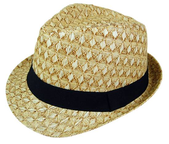 Diamond Pattern Straw Fedora Hat- Boardwalk Style
