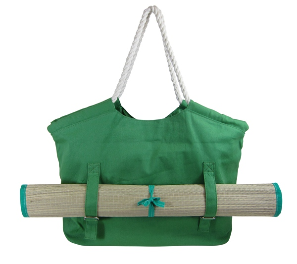 Green Canvas Beach Tote Bag w:Beach Mat-Boardwalk Style