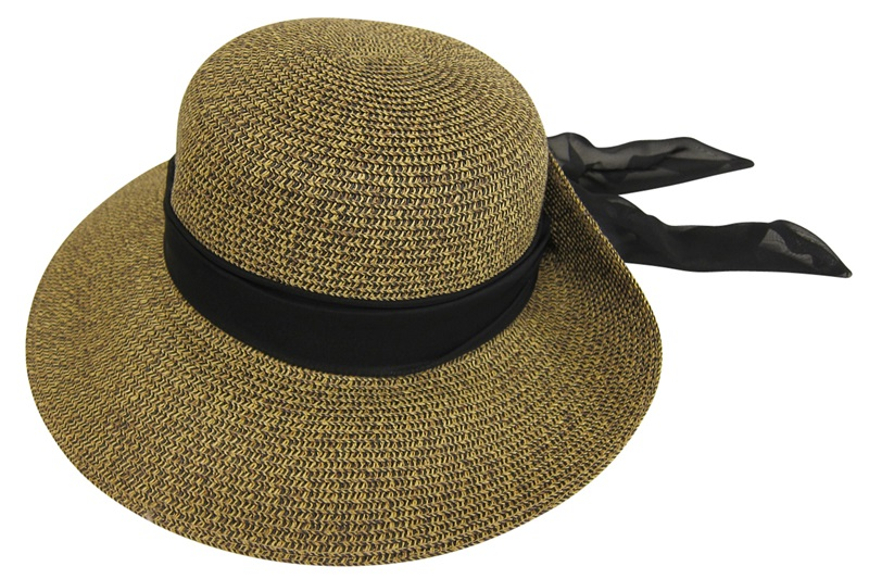 Lampshade Sun Protection Hat w:Tie-Bac Sash-Boardwalk Style
