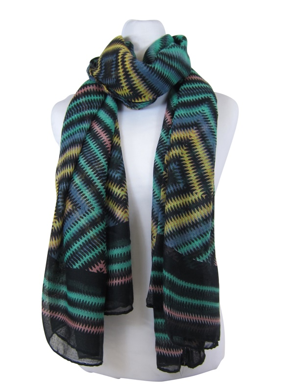Lightweight Summer Beach Scarf Zig Zag Print-Boardwalk Style