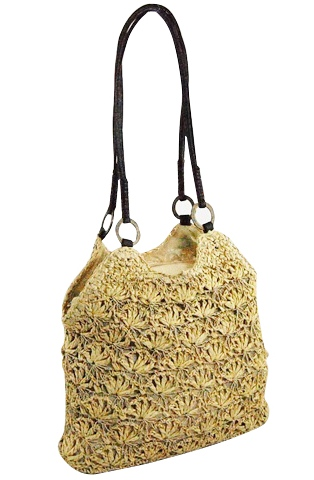 Natural Crochet Staw Bag w:Leather Straps-Boardwalk Style