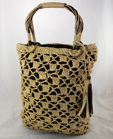 Natural Crochet Straw Bag- Boardwalk Style