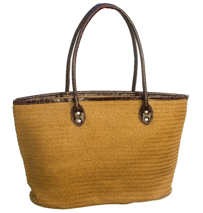 Natural Straw Bag w: Brown Handles