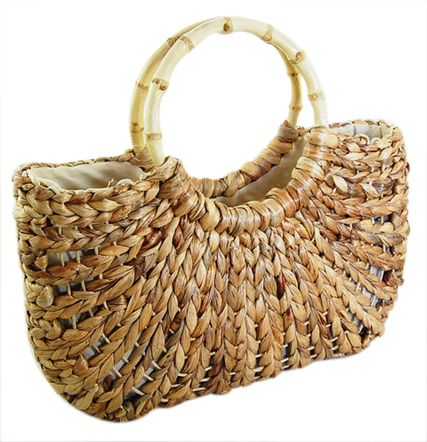 Natural Straw Bag w:Bamboo Handles-Boardwalk Style