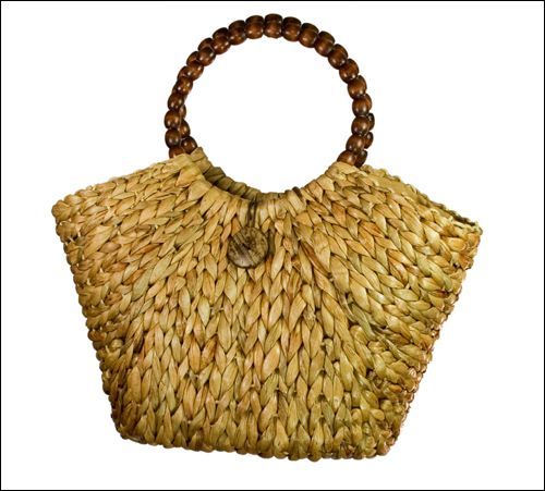 Natural Straw Bag w:Wooden Beaded Handles-Boardwalk Style