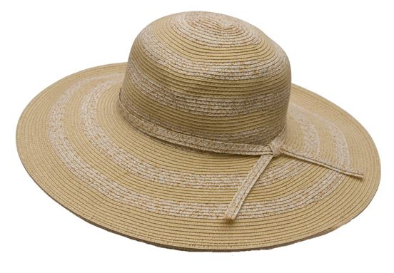 Natural Striped Straw Floppy Hat-Boardwalk Style