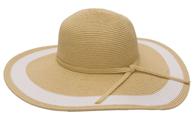 Natural Wide Brim Straw Floppy Hat w: White Ring Trim-Boardwalk Style
