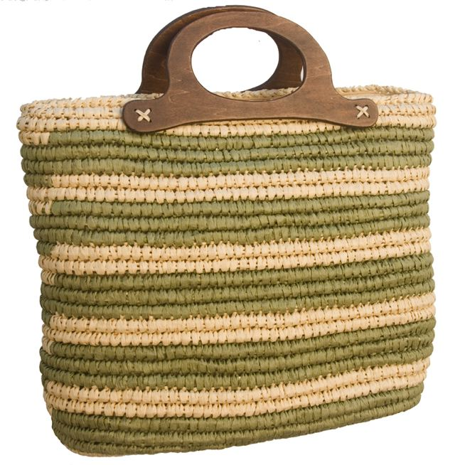 Natural and Olive Straw Bag-Boardwalk Style