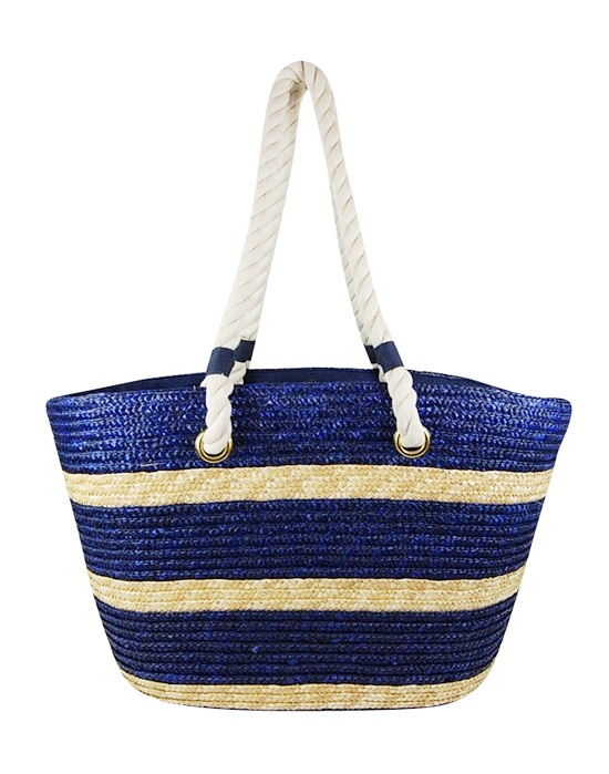 Nautical Big Striped Straw Beach Tote Bag w:Rope Handles-Boardwalk Style
