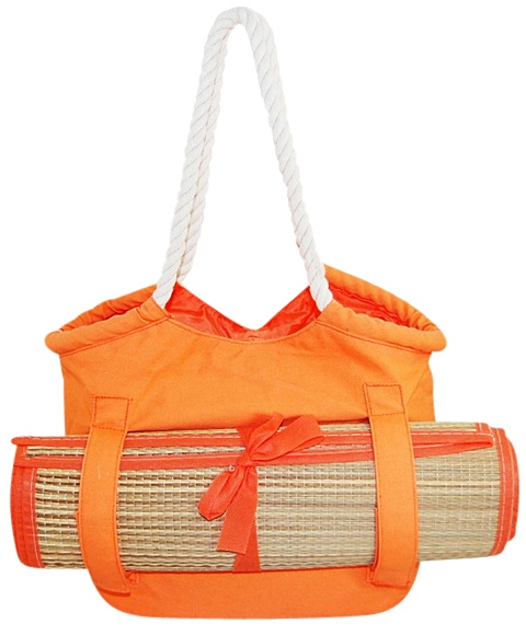 Orange Canvas Beach Tote Bag w:Beach Mat-Boardwalk Style