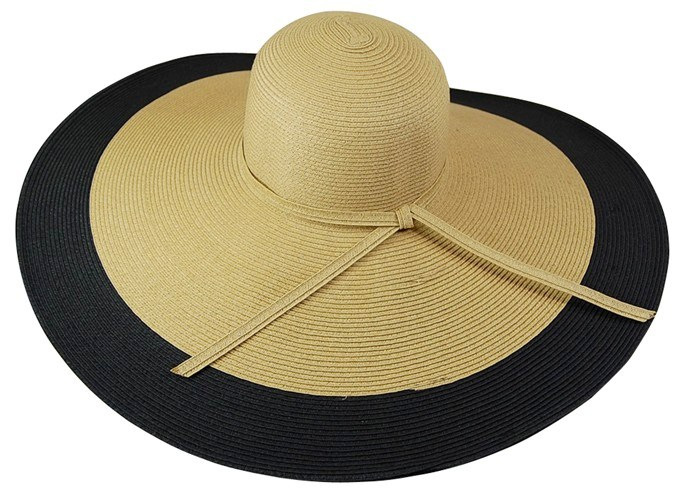 Oversized Black and Natural Wide Brim Sun Floppy Hat- Boardwalk Style