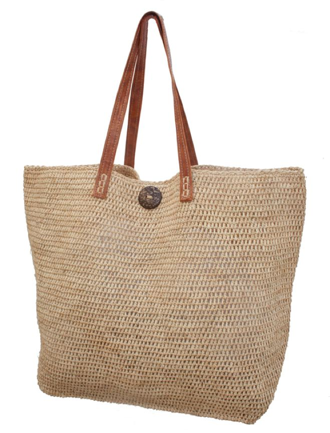 Oversized Natural Raffia Crochet Beach Tote Bag-Boardwalk Style