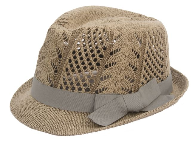 Pattern Knit Fedora w:Grey Band-Boardwalk Style