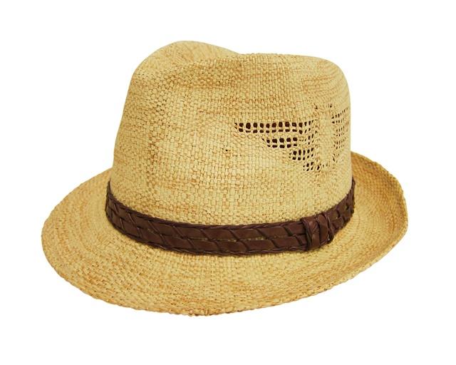 Straw Fedora Hat w:Cut Outs- Boardwalk Style