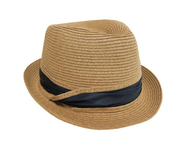 Straw Fedora w:Satin Band Hat- Boardwalk Style