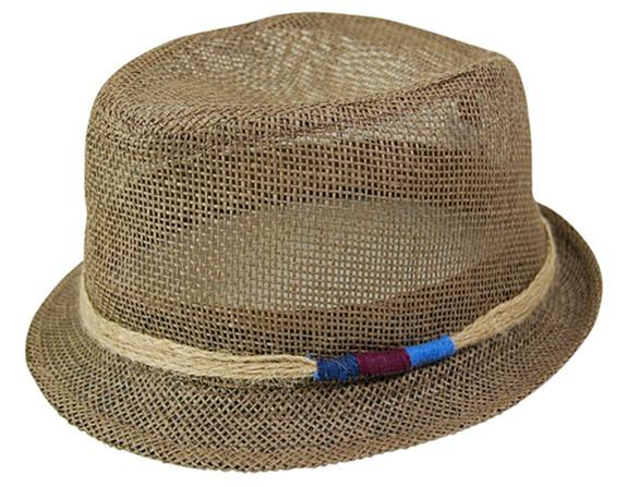 Straw Mesh Fedora Hat w:Band-Boardwalk Style