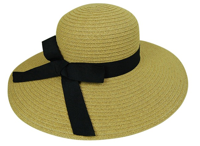 Straw Sun Hat w:Black Ribbon-Boardwalk Stye