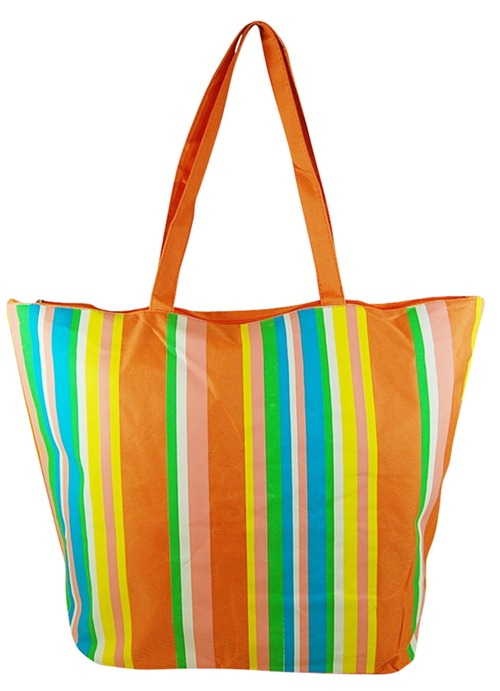 Striped Multicolor Beach Tote Bag-Boardwalk Style