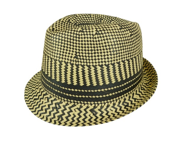 Two-Tone Hand Woven Straw Fedora Hat-Boardwalk Style