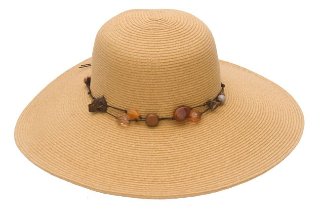 Wide Brim Straw Floppy Hat with Beads-Boardwalk Style