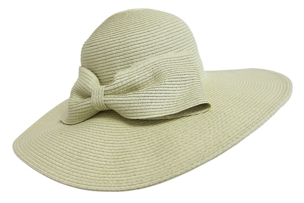 Wide Brim Sun Protection Hat w:Oversized Bow-Boardwalk Style