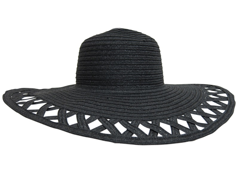 Wide Brim w:cutout Brim Black Floppy Hat- Boardwalk Style