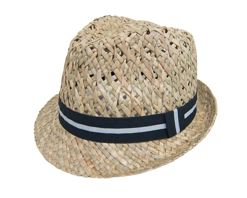 Woven Straw Fedora Hat w:Striped Band- Boardwalk Style