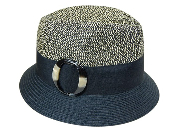 2-Tone Tweed Straw Fedora w:Buckle-Boardwalk Style