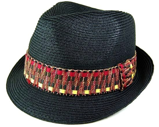 Black Straw Fedora w:Woven Band