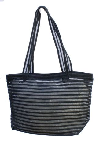 Black Straw and Mesh Beach Bag-Boardwalk Style