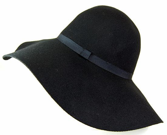 Black Wide Brim Felt Floppy Hat- Boardwalk Style