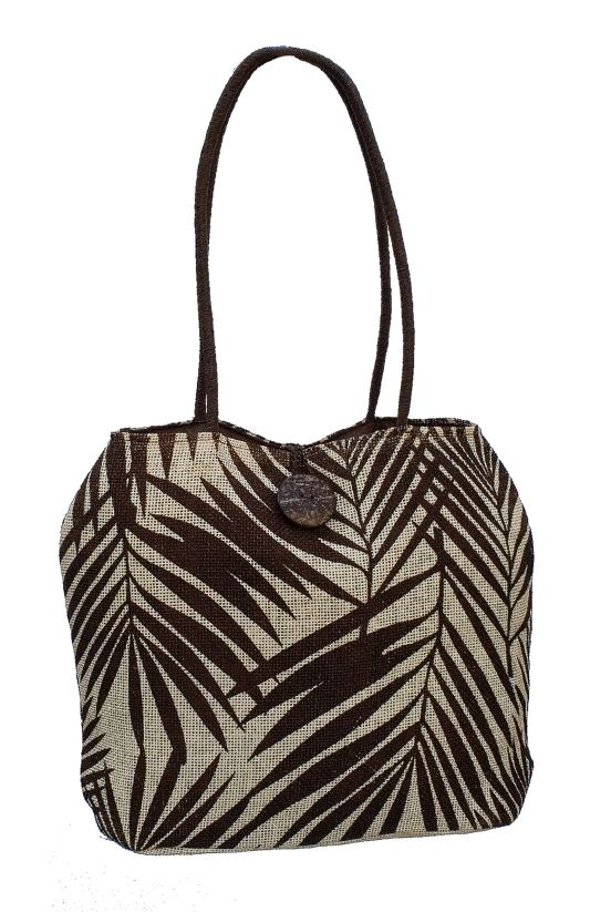 Canvas Beach Bag w: Tropical Leaf Print-Boardwalk Style