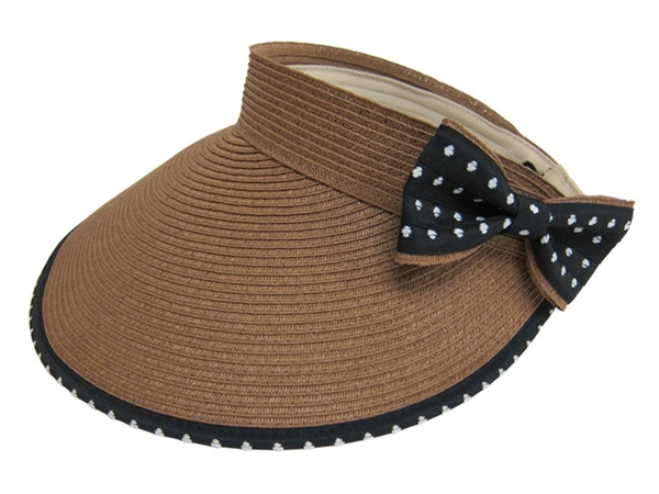 Large Rollup Straw Visor Hat w:bow-Boardwalk Style