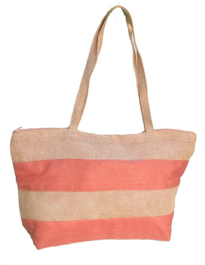 Large Straw Mesh Striped Beach Bag-Boardwalk Style