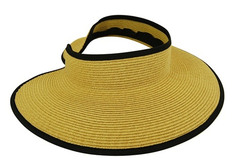 Rollup Natural Straw Visor w:Contrast Trim-Boardwalk Style