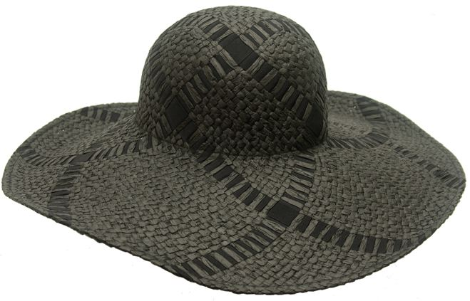 Straw Ribbon  Grey Black Criss Cross Floppy Hat- Boardwalk Style