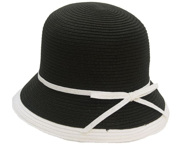 Black and White Straw Bucket Hat w: Contrast Trim- Boardwalk Style