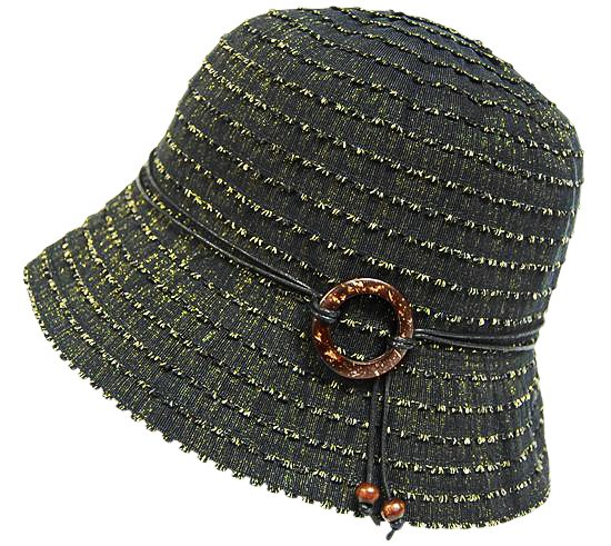 Black w: Shimmery Gold Lurex Bucket Hat- Boardwalk Style