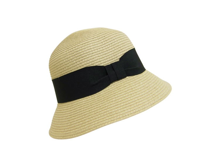 Natural Straw Bucket Hat w:Wide Band- Boardwalk Style