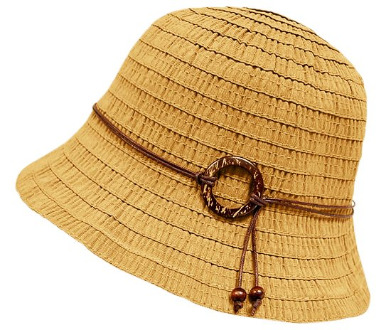 Scrunched Ribbon Bucket Hat w: Wood Ring Detail- Boardwalk Style