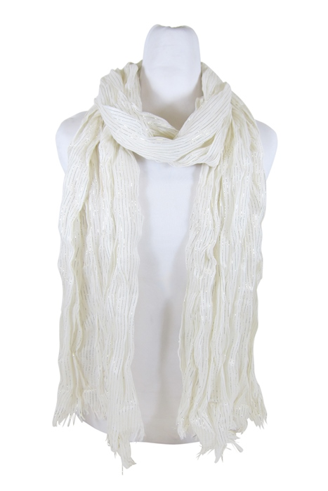 White w:Metallic Crinkle Scarf- Boardwalk Style