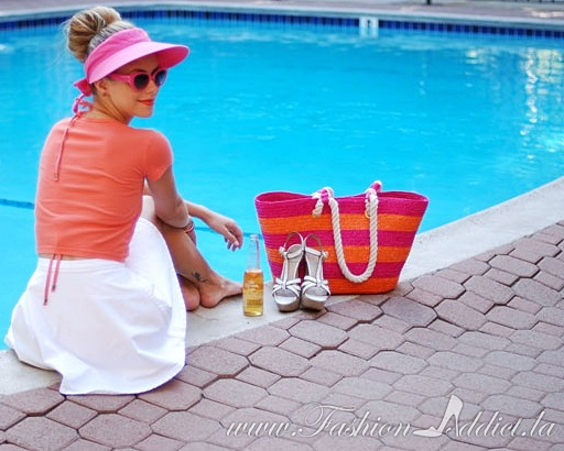 straw beach bag with Kier Mellour of Fashion Addict Los Angeles blog