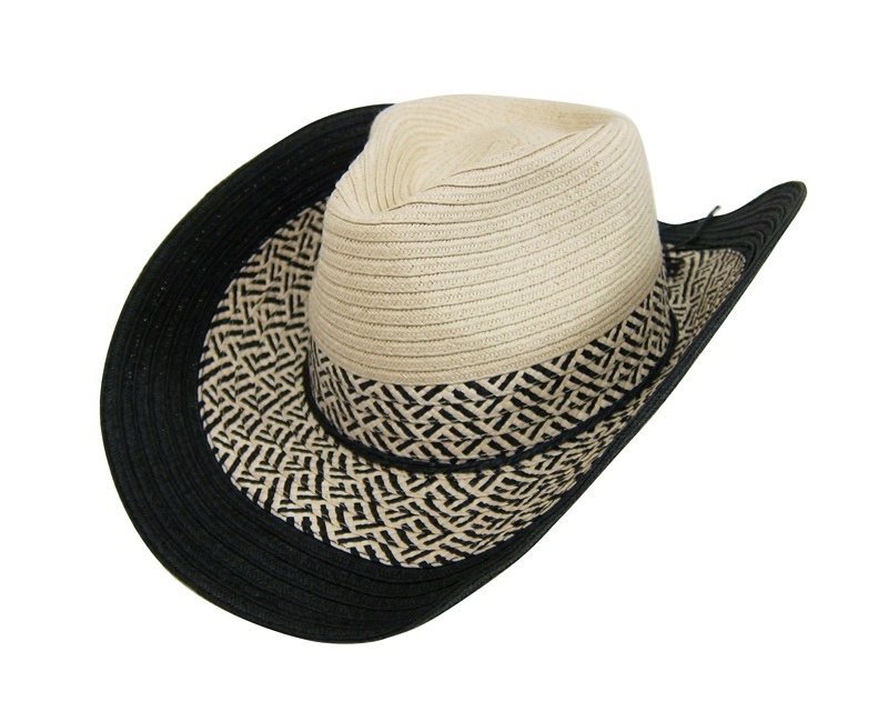 Black and Natural Straw Cowboy Hat Summer Beach Essential- Boardwalk Style