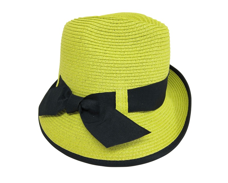 Boardwalk Style Bright Asymmetrical  Straw Fedora Hat w: Bow