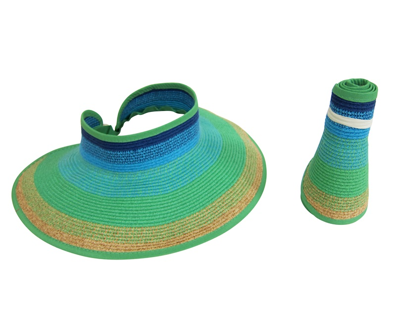 Boardwalk Style Striped Bright Blue Summer Green Yellow Roll Up Butterfly Visor Hat