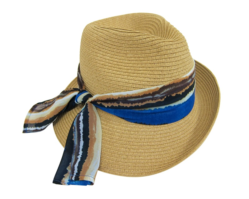 Boardwalk Style Summer Asymmetrical Straw Fedora Hat w: Blue Ribbon