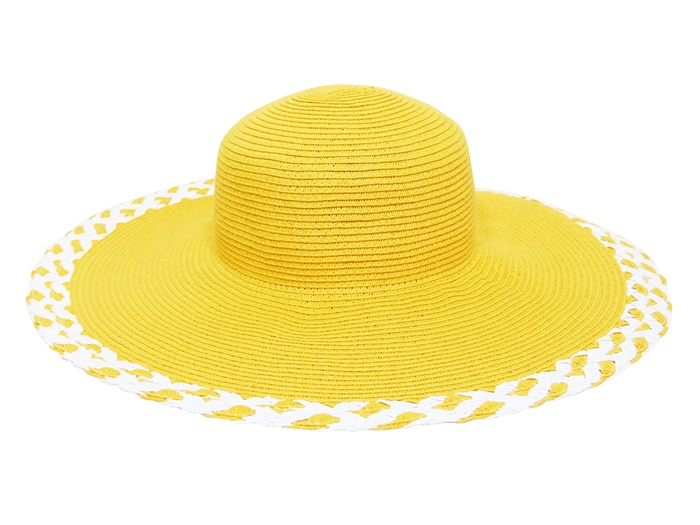 Boardwalk Style Wide Brim Summer Hat w: Cross Cross Edge