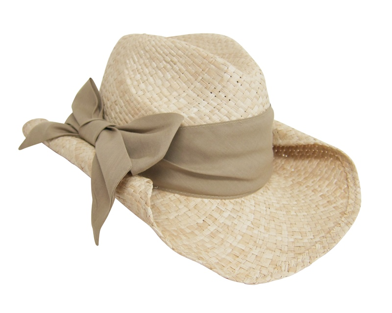 Natural Cowboy Hat w: Natural Beige Monochromatic Bow Ribbon